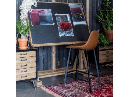 Hnědá vintage barová židle DUTCHBONE FRANKY 65 cm s kovovou podnoží