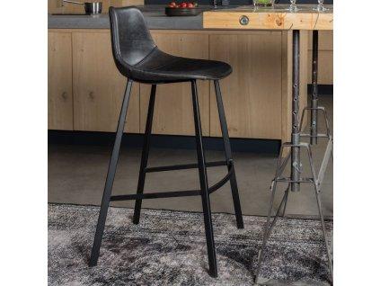 Černá vintage barová židle DUTCHBONE FRANKY 65 cm s kovovou podnoží