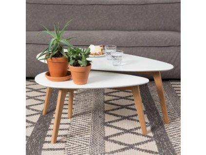 Set dvou bílých dřevěných odkládacích stolků WL DROP 70/100 cm s dřevěnou podnoží