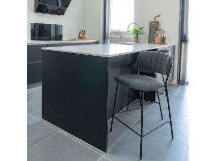 Šedá čalouněná barová židle Nordic Living Alica s kovovou podnoží a podnožkou