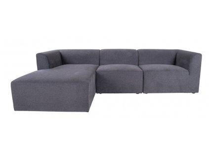 Tmavě šedá čalouněná pohovka Nordic Living Kennedy 272 cm, levá