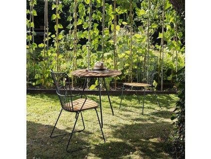 Přírodní bambusový zahradní bistro stůl HOUE Circum 74 cm s kovovou podnoží