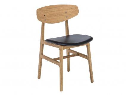 Černá kožená jídelní židle HOUE Siko s dubovou podnoží