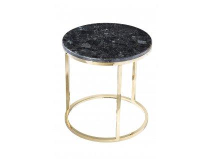 Černý mramorový konferenční stolek RGE Accent se zlatou podnoží Ø 50 cm