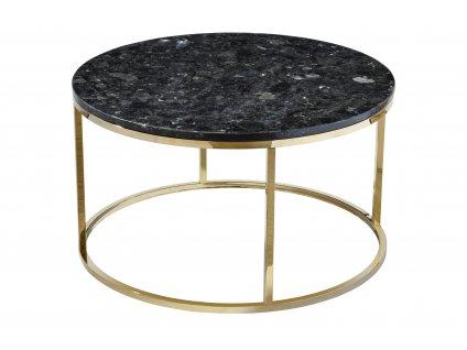 Černý žulový konferenční stolek RGE Accent se zlatou podnoží Ø 85 cm