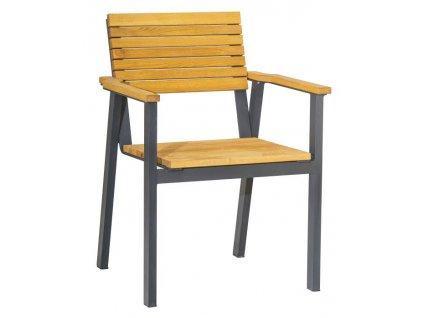 Dřevěná zahradní židle Ripper s područkami s kovovou podnoží