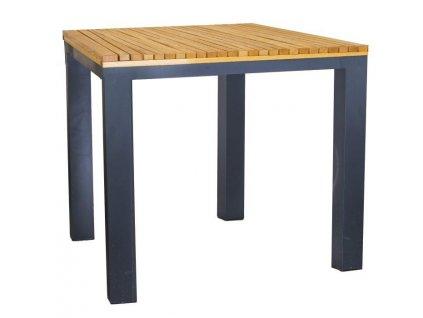 Dřevěný zahradní stůl Ripper 80 x 80 cm s kovovou podnoží