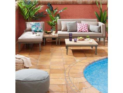 Zahradní set pohovky, lenošky a stolku LaForma Pascale s kovovou podnoží a dřevěnou deskou