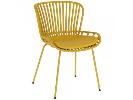 Hořčicově žlutá plastová jídelní židle LaForma Surpik