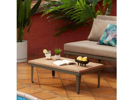 Dřevěný zahradní konferenční stolek LaForma Pascale 90 x 50 cm s kovovou podnoží