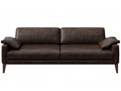 Tmavě hnědá vintage třímístná čalouněná pohovka MESONICA Musso 211 cm