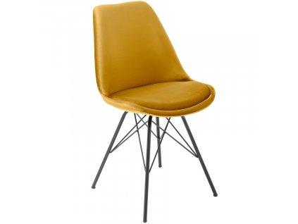 Žlutá sametová jídelní židle Alara