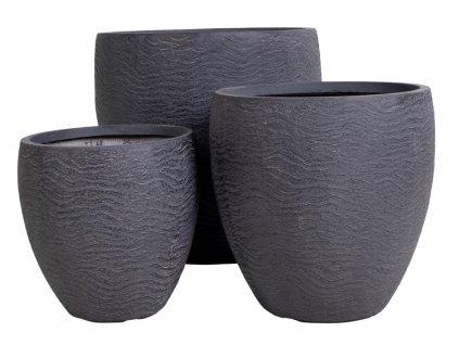 Set tří šedých betonových květináčů Nordic Living Malik 37/44/56 cm