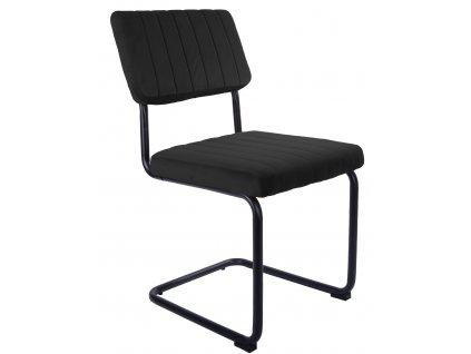 Černá sametová jídelní židle Cornelia