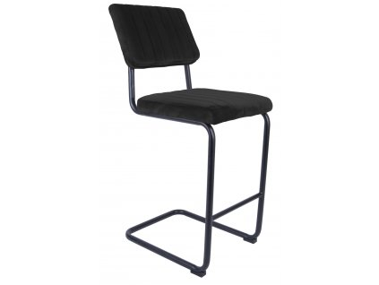 Černá sametová barová židle Cornelia 66 cm