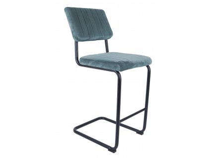 Světle modrá sametová barová židle Cornelia 66 cm