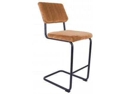 Cihlově oranžová sametová barová židle Cornelia 66 cm