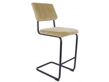 Pískově hnědá sametová barová židle Cornelia 66 cm