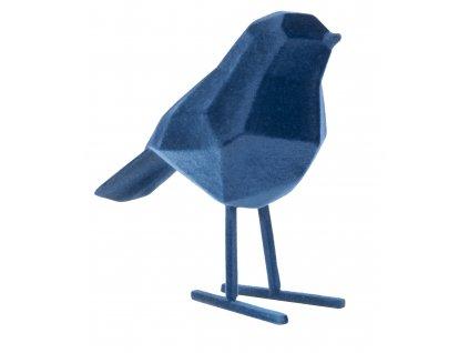 Modrá sametová dekorace Birdie S