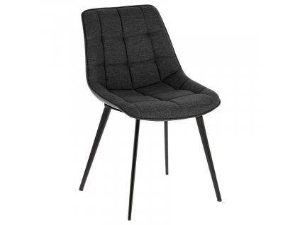 Antracitově šedá látková jídelní židle LaForma Adah