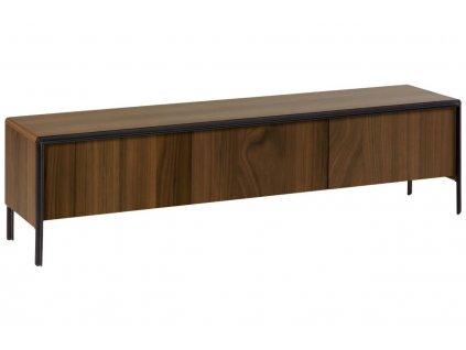 Masivní ořechový TV stolek LaForma Nadyria 180 x 42 cm s kovovou podnoží