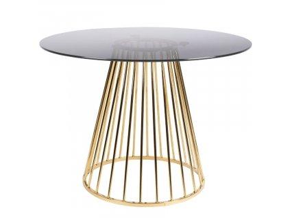 Skleněný jídelní stůl WLL Floris se zlatou podnoží