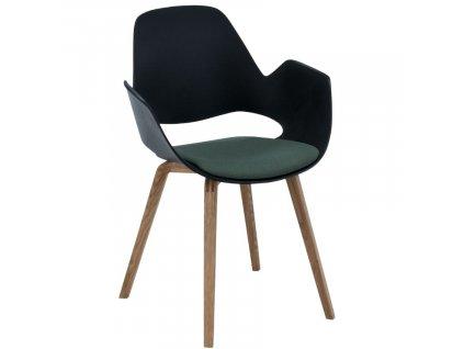 Zelená čalouněná jídelní židle HOUE Falk s dubovou podnoží