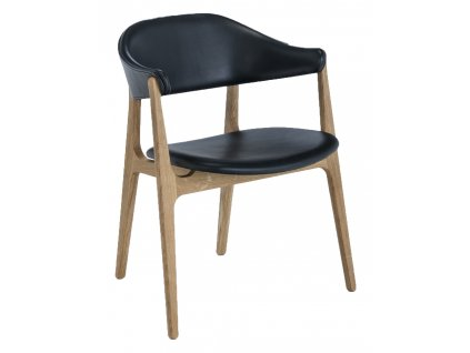 Černá kožená jídelní židle HOUE Spän s dubovou podnoží