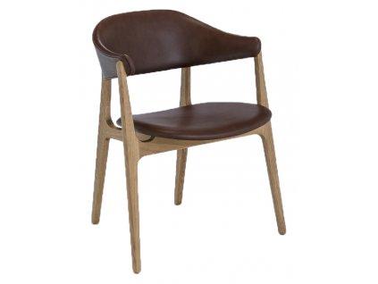 Hnědá kožená jídelní židle HOUE Spän