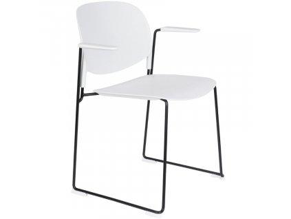 Bílá plastová jídelní židle WLL Stacks s područkami