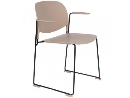 Béžová plastová jídelní židle WLL Stacks s područkami