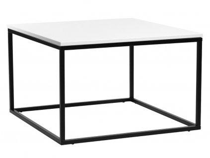 Bílý konferenční stolek FormWood Villa 75 x 75 cm s černou kovovou podnoží