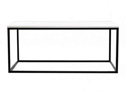 Bílý konferenční stolek FormWood Villa 110 x 60 cm s černou podnoží
