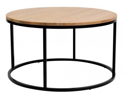 Dubový kulatý konferenční stolek FormWood Villa 85 cm s černou podnoží