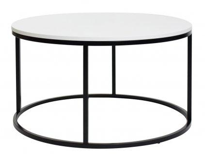 Bílý kulatý konferenční stolek FormWood Villa 85 cm s černou podnoží