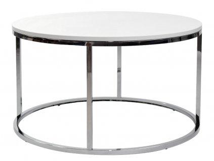 Bílý kulatý konferenční stolek FormWood Villa 85 cm s chromovou podnoží
