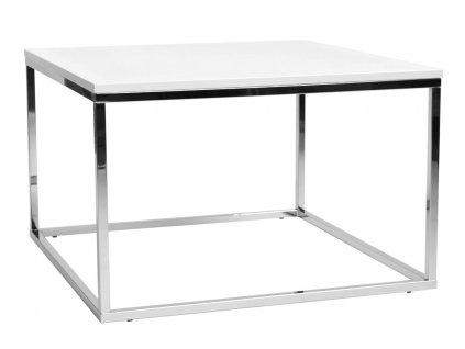 Bílý konferenční stolek FormWood Villa 75 x 75 cm s chromovou podnoží