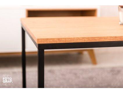 Dubový konferenční stolek FormWood Villa 110 x 60 cm s černou podnoží