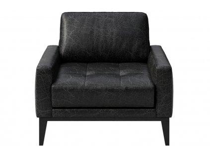 Černé vintage kožené křeslo MESONICA Musso Tufted