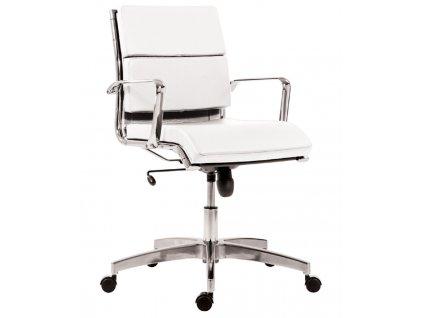 Bílé koženkové kancelářské křeslo Soft Stello