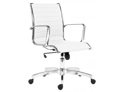 Bílé koženkové kancelářské křeslo Stello Rib