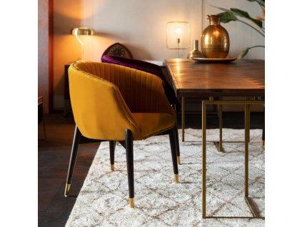 Fialová sametová židle DUTCHBONE DOLLY