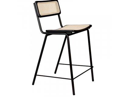 Černá ratanová barová židle ZUIVER JORT