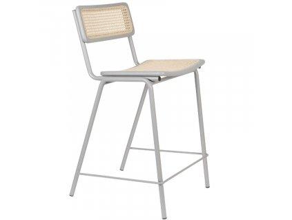Šedá ratanová barová židle Jort