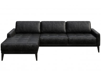 Černá vintage kožená rohová pohovka MESONICA Musso Tufted, levá, 248 cm