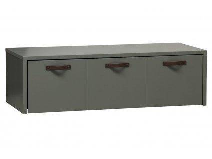 Zelená dřevěná lavice Erniest s úložným prostorem