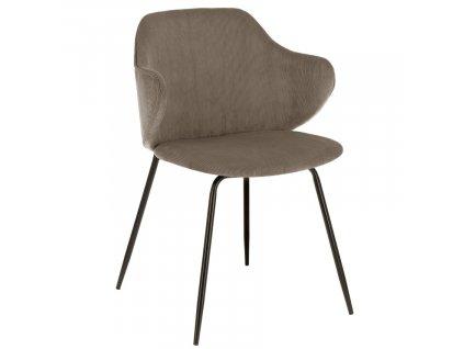 Tmavě hnědá manšestrová jídelní židle LaForma Suanne