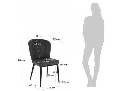 Tmavě šedá čalouněná jídelní židle LaForma Madge