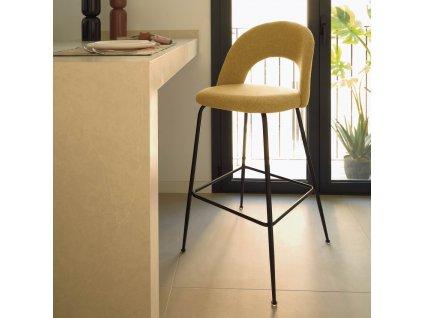 Hořčicově žlutá čalouněná barová židle LaForma Mahalia