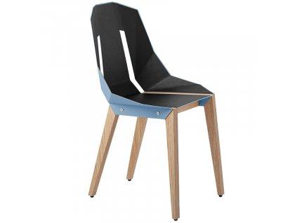 Světle modrá čalouněná židle Tabanda DIAGO s dubovou podnoží